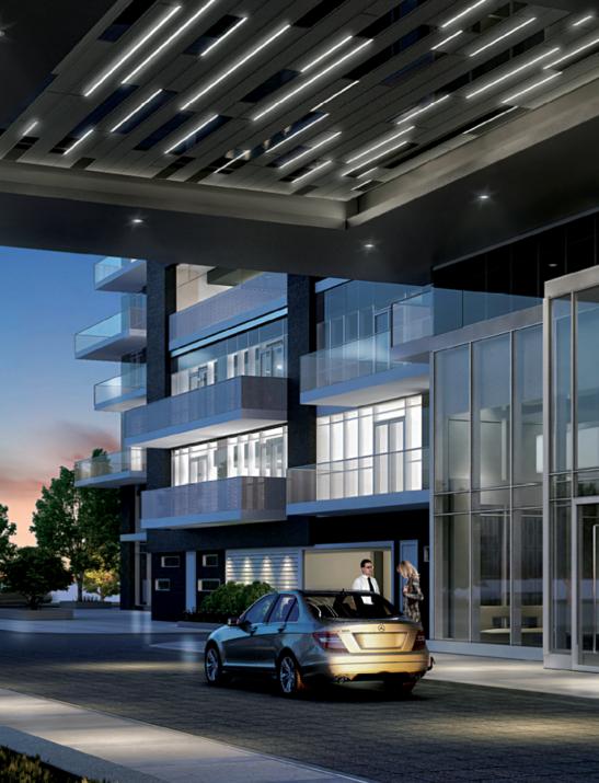 Exterior entrance of Paradigm Condominiums style='width:100%'